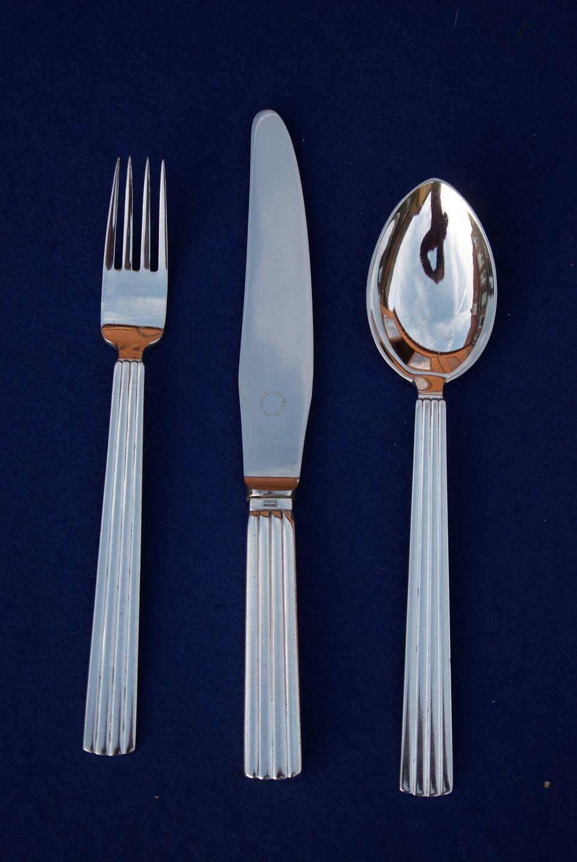 Splinternye Antikkram - Bernadotte Georg Jensen sølvbestik, sæt middagsbestik AT-46
